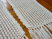 White knitted table runner Long White Doily Vintage Hadmade Dresser Scarf