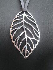 Lagenlook Long Large leaf Necklace antique silver colour