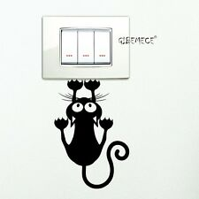 Black Cute Kitten Switch Sticker House Decorative Wall Stickers Vinyl Waterproof