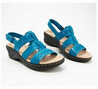 Clarks Collection Lexi Qwin Leather Cut-Out Sandals, Turquoise, US 7.5 M, NWB