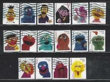 US Sc# 5394a-p SESAME STREET FIGURES SET of 16 USED OFF PAPER SOUND