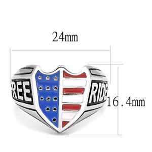 Blue Red White in Shield Shape Mens 316 Stainless Steel Rider Free Biker Ring