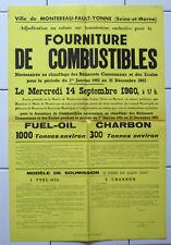 Affiche ancienne ADJUDICATION Ville de Montereau-Fault-Yonne 1960 Fuel Charbon