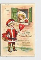 PPC POSTCARD VALENTINES TO MY SWEETHEART BOY WITH HEART ON ARROW CLAPSADDLE ?
