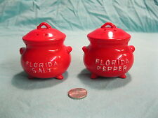 Vintage Red Footed Stock Pot Florida Salt and Pepper Shakers Lego Ceramic     22