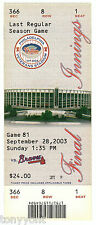 Phillies Last Game @ Veterans Stadium Unused Ticket Stub 9-28-03 MINT SUPER RARE