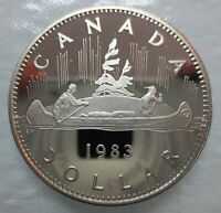 1983 CANADA VOYAGEUR PROOF ONE DOLLAR HEAVY CAMEO COIN