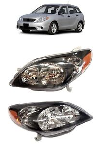 For 03 08 Toyota Matrix Black Headlights Type S Lamps Replacement Pair Set