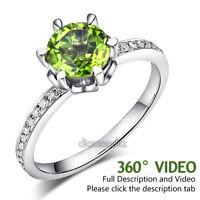 14K White Gold Wedding Engagement Ring 1.4 Ct Peridot 0.14 Ct Natural Diamonds
