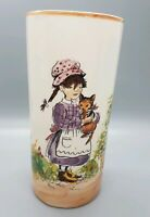 "Vtg Hand-Painted Vase from Brazil Country Girl Holding Cat 6.75"" tall x 3"" wide"