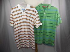 Lot of 2 Men's Polo Shirt s/s Golf Hollister & Izod Green Orange Blue Stripe Med