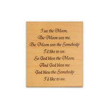 I see the Moon, God bless mounted rubber stamp religious blessing, sentiment CM5