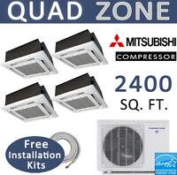 Quad Ductless Mini Split AC/Heat Pump:12k x4 Ceiling Cassettes,includes linesets