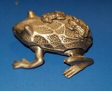 Vintage Torino Pewter Frog Trinket Box Frog Earring Pinned to Lid Only Displayed