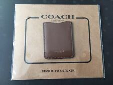 Coach Leather Cell Phone iPhone Android Pocket Sticker Credit Card - Dark Saddle