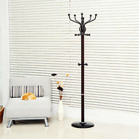 NEW 14 Hook Hat and Coat Stand Clothing Rack with Umbrella Holder in Black/Brown