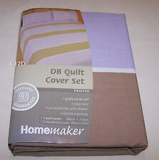 Homemaker Stripe Double Bed Printed Quilt Cover Set New *Clearance*