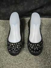 New York & Company Black Shimmer Look Ballet Flats with Rhinestone Accents, Sz 7