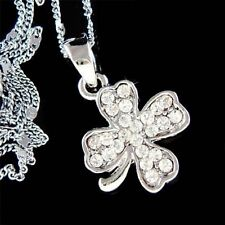 Irish Wedding w Swarovski Crystal ~4 Leaf Clover Lucky Shamrock Pendant Necklace