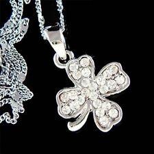 Irish Wedding w Swarovski Crystal ~4 Leaf Clover Lucky Shamrock Pendant Necklace