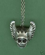 Winged Skull Cut Pewter Necklace 2
