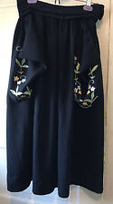 Vintage Skirt Black with Floral Embroidery