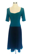 LEONA EDMISTON Frocks Dress - Vintage Style Scoop Neck Black Green Ruched - XS/8