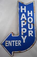 Vintage Looking Happy Hour Sign w/ Curved Arrow Design - Bar Signs - Dorm Room
