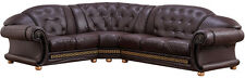 Versace Cleopatra Sectional Sofa Living-Room Set in Brown Italian Leather