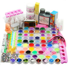 US 78 Colors Acrylic Powder Liquid Glitter Clipper File Nail Art Tips Kit Set