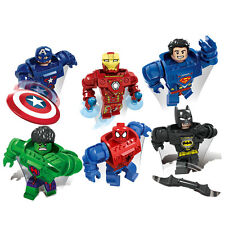 The Avengers Building Blocks Toys Superman Captain Iron Hulk Mech Man 6pcs/lot