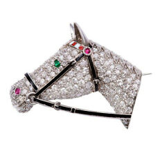 4.60ct NATURAL ROUND DIAMOND RUBY EMERALD14K WHITE GOLD ANNIVERSARY HORSE BROOCH