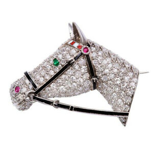 Cyber Monday 4.60ct Natural Round Diamond White Gold Ruby Emerald Horse Brooch