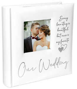 Our Wedding 2-Up 4x6 Bookbound Photo Album Silver Foil Accents Holds 160 Photos