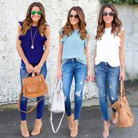Fashion Women Summer Chiffon Short Sleeve Casual Shirt Tops Blouse T-Shirt Tee