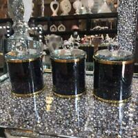 DIAMOND CRUSHED BLACK CRYSTAL FILLED TEA COFFEE SUGAR CANISTERS JARS STORAGE