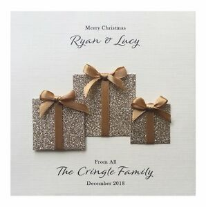 Handmade PERSONALISED Christmas Card - Christmas Presents (Gold)