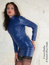 Ledertop cuero top azul Zipper manga larga, hecha a medida