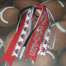 Ohio State Streamer Hair Bow~Glitter~Buckeyes~Scarlet~Gray~White~Black