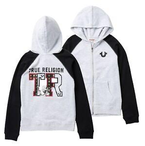 True Religion Boys Heather White/Black Star Graphic Raglan Full Zip  Hoodie $79