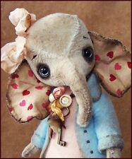 Alla Bears artist Old Antique Vintage Elephant art doll home decor bridal  show