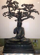 Rare Bronze Buddha Statue Under Bohdi Tree – Meditation Enlightenment