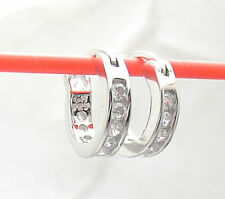 Small Tiny Diamonique CZ  Hoop Earrings Anti-Tarnish Real 925 Sterling Silver