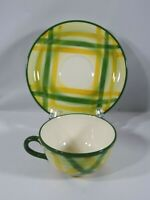 MID CENTURY VERNONWARE GINGHAM COFFEE CUP & SAUCER YELLOW PLAID GREEN TRIM