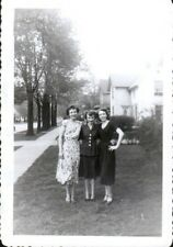 Vintage 1950's photograph of three sexy vintage ladies on front lawn in suburb 5