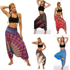 UK donna pantaloni Harem Yoga larga Hippie Boho spiaggia VT