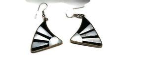 Vtg Enamel and Shell Black and White Earrrings Sterling Silver Setting