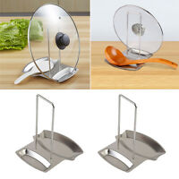Stainless Steel Pan Pot Cover Lid Stand Spoon Rest Rack Holder Kitchen Home Tool