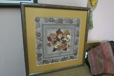 "Vintage Needlework Embroidery Hand Stitched 14"" x 14"" - 20"" Square Framed Floral"