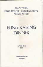Conservative Party 1972 Fund Raiser Program Robert Stanfield slc